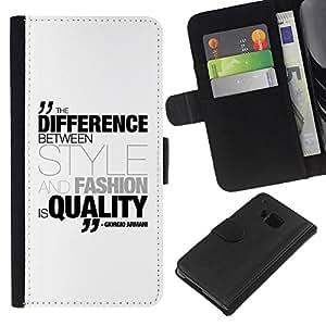 All Phone Most Case / Oferta Especial Cáscara Funda de cuero Monedero Cubierta de proteccion Caso / Wallet Case for HTC One M9 // Differenece Style Fashion Quality Quote Armani