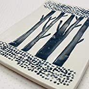 JANECKA Tree Trunks, Handmade Black and White Tray 7 x 5 Inches, Artisan Crafted made in USA, Pottery 9th Anni