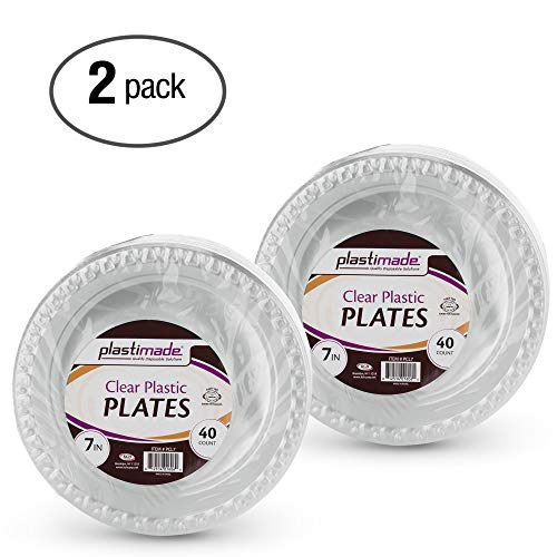 Plastimade Clear Plastic Plates 7 Inch Pack of 80