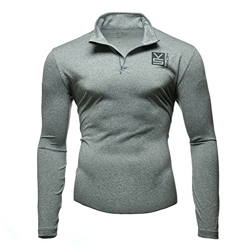 Fusion VS Wear Men's Microfiber 1/4 Zip Slim Fit Compression Long Sleeve Athletic Sport Performance Training Thermal Baselayer Tactical Turtleneck Shirt Made in USA Large Gray