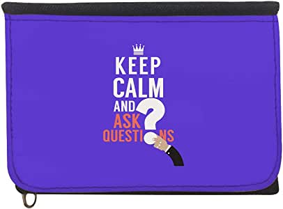 keep Calm & ask quistion Printed Case Wallet,  jeans