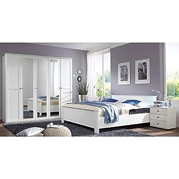 Schlafzimmer Komplett Set Wei 180cm Bett Kleiderschrank Nachtschrank