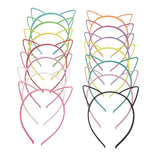 (Hongfa Cat Ear Plastic Headbands Hairbands Party Costume Daily Decorations Party Headwear for Women Girls,14)
