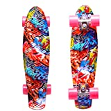 ENKEEO 22 Inch Cruiser Skateboard Plastic Banana Board with Bendable Deck and Smooth PU Casters for Kids Boys Youths Beginners, 220 Ibs. (Graffiti)