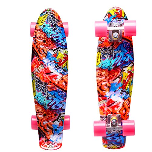 ENKEEO 22 Inch Cruiser Skateboard Plastic Banana Board with Bendable Deck and Smooth PU Casters for Kids Boys Youths Beginners, 220 Ibs. (Boys Cruiser)
