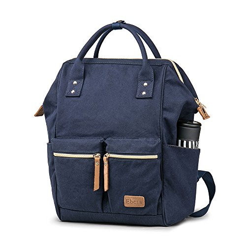 Multifunction Canvas Backpack Travel Bags for Man Woman Casual Laptop Rucksack (Dual Pockets x Blue EB) by Ebesa (Image #1)