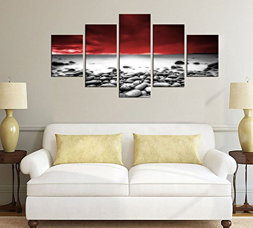 Large Canvas Wall Art Lake Beach Sunset Wall Decor 5 Pieces Nature Picture Prints Red Sky with Black and White Cobble Stones Contemporary Canvas Artwork Stunning Scenery Painting for Home Decoration
