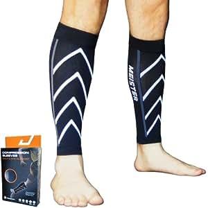 Meister Graduated 20-25mmHg Compression Running Leg Sleeves for Shin Splints (Pair) - Black - Small