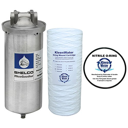 Stainless Steel Water Filter, Large Diameter Water Filter Housing, KleenWater KW4510SW String Wound Sediment Filter, KleenWater KWFLDRG Spare O-Ring