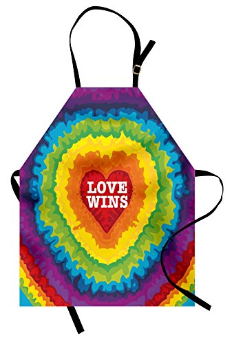 - Ambesonne Pride Apron, Love Wins Celebration Tie Dye Digital Print Backdrop and Rainbow Colors Happiness, Unisex Kitchen Bib Apron with Adjustable Neck for Cooking Baking Gardening, Rainbow Tones