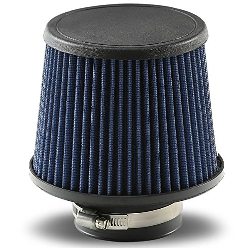 3 inches Inlet Universal Clamp-On Cotton Gauze Round Cone Air Intake Filter (Blue) ()