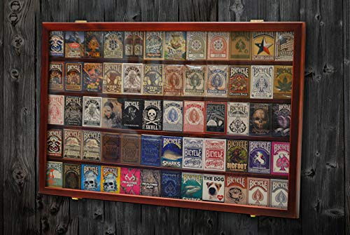 The Playing Card Frame - 60 Deck Wooden Mahogany Cards Display by Gamblers Warehouse