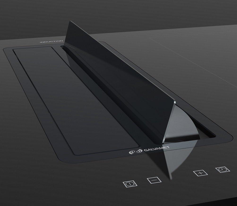 Galvamet//KOMPAKTECH IX-BLACK 1000 86 cm//schwarz 1000 m/³//h Tischhaube FLEX Induktionskochfeld IX-BLACK 1000