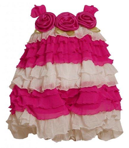 2013 Spring New Fashion (Baby Girl Fuchsia-Pink Ivory Colorblock Tiered Eyelash Ruffle Bubble Romper, Bonnie Baby, FUCHSIA,)