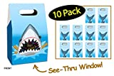 Shark Favor Bags Shark Party Bags 10 Pack // Unique See-Thru Window Gift Bags or Favor Boxes //...
