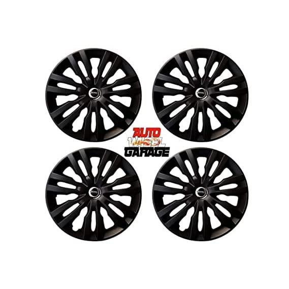 Hotwheelz Sporty Twin Color 14-inch Wheel Cover with Rings (Matte Black) -Set of 4 Pieces