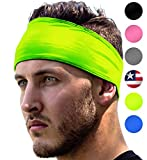 High Visibility Headband: Sport Headbands For Running & Jogging Safety at Night. Fits Women Men Kids. Replace Reflective Gear Vest Jacket Shirt For Bright Visible Sweatband. High-Vis Florescent Yellow