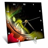 3dRose Fractal Abstracts - Image of Fractal Red Yellow Black Solar System In Space - 6x6 Desk Clock (dc_273395_1)