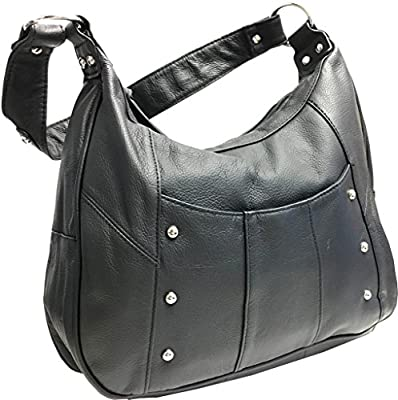 Leather Concealed Carry Gun Purse Left/Right Hand W/ Locking Zipper