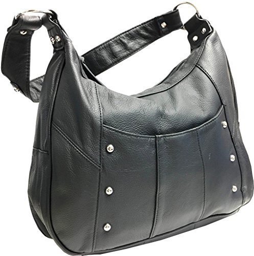 Leather Concealed Carry Gun Purse Left/Right Hand W/Locking Zipper, Black