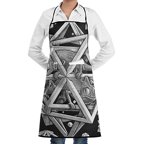 - LOVE CORNER Waterproof Kitchen Apron with Visible Center Pocket and Long Ties for Cooking Salon Men - Escher Space - Liquid Drop Resistant, Comfortable and Easy Care Aprons