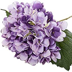 Artificial Plants - Artificial Hydrangea Bouquet Silk Flowers Leaf Wedding Bridal Party Home Decoration - Kitchen Violet Tree Basket Reptile Realistic Tall Dried Round Daisies Tabletop To