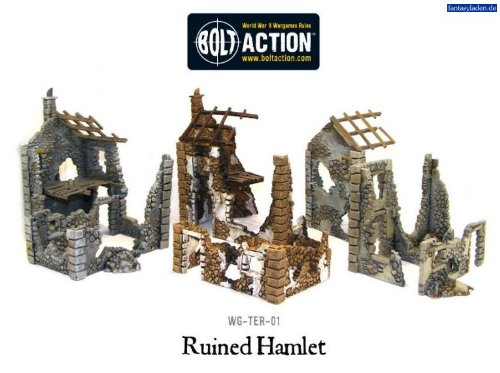 Pack Of 3 Ruined Hamlet Miniature Buildings
