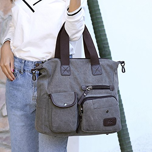 grigio Shoulder Donna messenger Borsa di bag Borse borse a Rosso Spalla Viaggio borse Borsa donna bag tracolla grande messenger Nclon Borse tela Z1xnY8Y