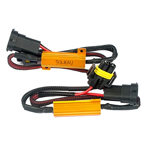 H11 50W 6Ohm Load Resistor Adapter Fix Hyper Flashing Blinking Canbus Error Warning Canceller (2pieces)