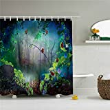 The seven colored butterflies on the vine, bathroom shower curtain 3D printing - Waterproof, Mildew resistant, Machine Washable - Shower Hooks are Included