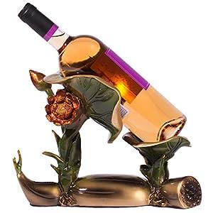 Garden Water Lily Pad Flower Wine Bottle Stand Holder in Kitchen or Bar Decor, Standalone Wine Bottle Holder, 8.5 inches Tall w/ Bronze Finish