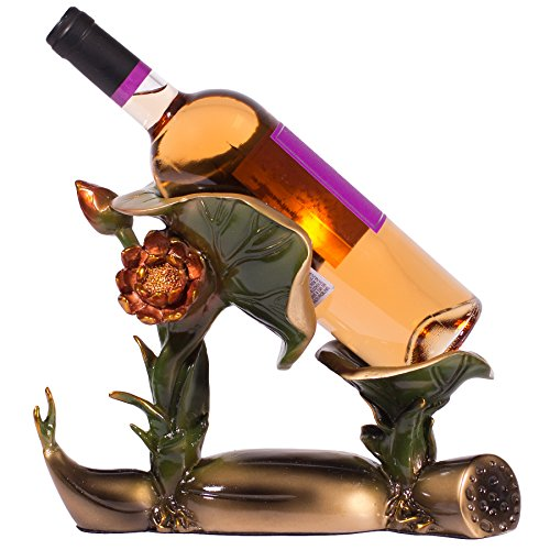 Garden Water Lily Pad Flower Wine Bottle Stand Holder in Kitchen or Bar Decor, Standalone Wine Bottle Holder, 8.5 inches Tall w/ Bronze Finish