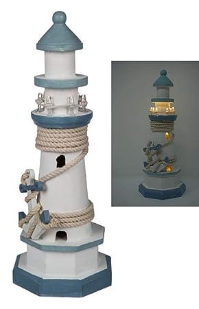 CBK-MS. Leuchtturm blau/Weiss mit Tau + Anker und LED Beleuchtung 8 ...