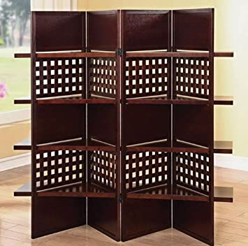 4 Panel Trudy Brown Finish Wood Solid Panel And Lattice Room Divider Screen With 4 Shelves