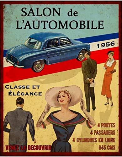 Line Plaque publicitaire Renault Dauphine 1956 vintage et r/étro 22 x 28 cm en acier Antic