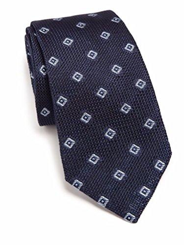 Ike Behar Men's Grenadine Italian Silk Tie, OS, Navy by Ike Behar
