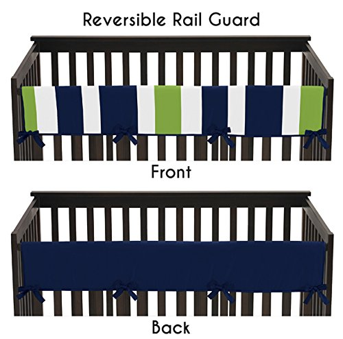 Sweet Jojo Designs Baby Crib Long Rail Guard Cover for Navy and Lime Green Stripe Print Bedding Collection (Rail Stripe)