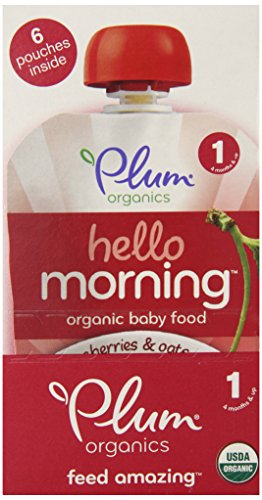 Plum Organics Hello Morning Cereal, Cherries and Oats, 3.5 Ounce (Pack of 12)
