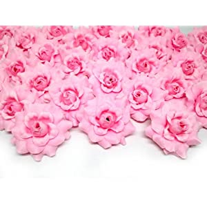 """(100) Silk Pink Roses Flower Head - 1.75"""" - Artificial Flowers Heads Fabric Floral Supplies Wholesale Lot for Wedding Flowers Accessories Make Bridal Hair Clips Headbands Dress 2"""