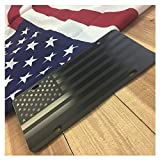 "JASS GRAPHIX American Flag License Plate Matte Black on 1/8"" Black Aluminum Composite"