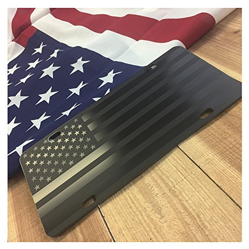 "American Flag License Plate Matte Black on 1/8"" Black Aluminum Composite Heavy Duty Tactical Patriot USA Car Tag"