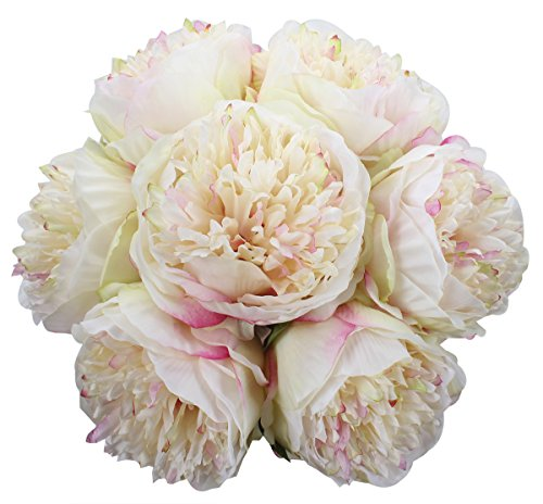 XIUER 7 Heads Silk Peony Bouquet Artificial Fake Flower Bridal Bouquet Home Wedding Party Festival Bar Decor (Champagne) (Peony Bouquet Wedding)