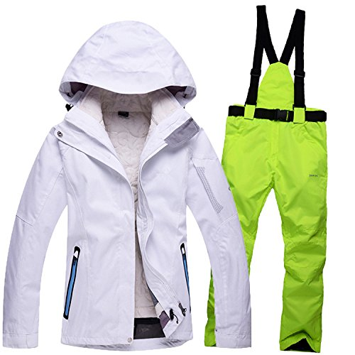 Windproof Jacket JACKETS Coat DYF Suit Zipper Waterproof Pants Women green white Warm FYM Ski Men Fgfvqaac