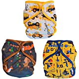 Layla Mae All in One Baby Boy Cloth Diapers One Size Adjustable AIO 3 Pack …
