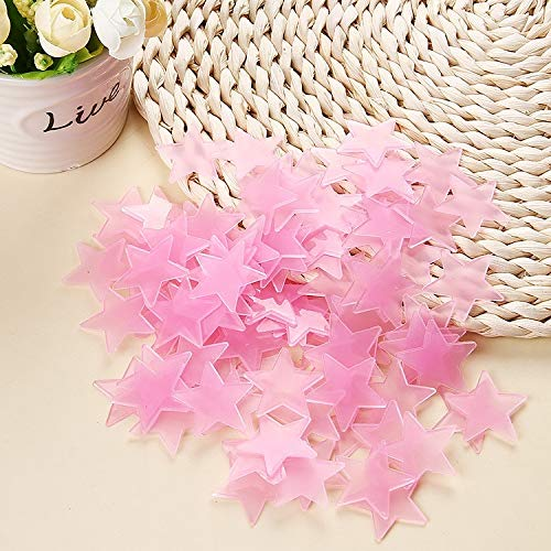 BBB&LIU 100 pcs. 3D Stars Glow in The Dark Luminous on Wall Stickers for Kids Room Living Room Wall Decal Home Decoration Poster,Pink
