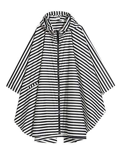 LOHASCASA Women's and Big Gril's Waterproof Raincoat Lightweight Packable Rain Coat Poncho Hooded Black Stripe (4 Winter Length For 3 Coats Women)