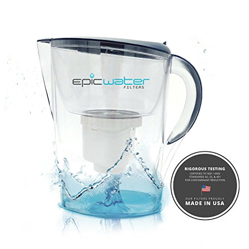 Epic Pure Water Filter Pitcher | Navy Blue | 3.5L | 100% BPA-Free | Removes Fluoride, Lead, Chromium 6, PFOS PFOA, Heavy Metals, Microorganisms, Pesticides, Chemicals, Industrial Pollutants & More by Epic Water Filters