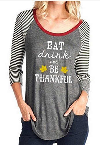 DUTUT Women's Eat Drink And Be Thankful Letters Printed Thanksgiving T-shirt Pullover 3/4 Strips Sleeve Top size L (Grey)