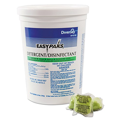 Easy Paks 5412135 Detergent/Disinfectant Original Scent .5oz Packet 90/Tub 2 Tubs/Carton ()