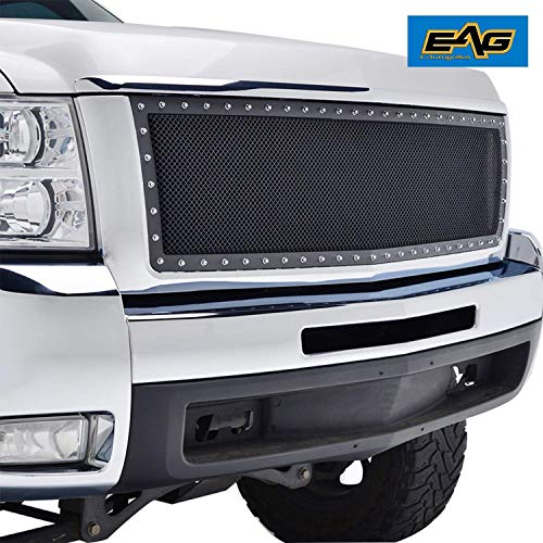EAG Steel Mesh Rivet Replacement Grille ABS Shell Fit for 2007-2010 Chevrolet Silverado 2500/3500